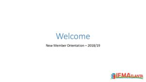 Welcome - message New Member Meetings 2019 - Atlanta Chapter